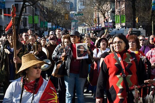 Participants gathered at a March for Missing and Murdered Indigenous Women