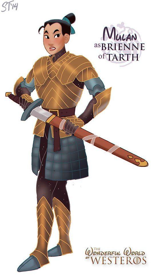 Mulan as Game of Thrones' Brienne of Tarth, art by DjeDjehuti