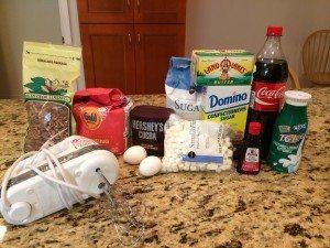 Ingredients for Coca-Cola Cake: Classic coke, flour, sugar, cocoa, buttermilk, etc