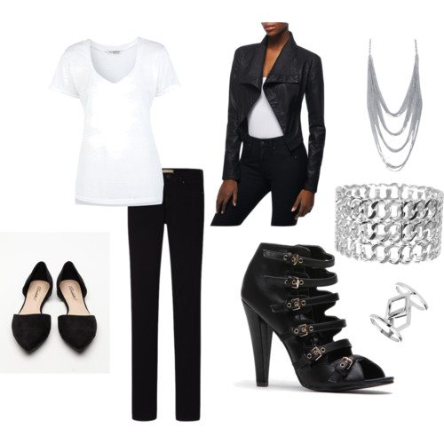 polyvore set with white v-neck tee, black skinny jeans, black pointy toed flats, black multi-buckle heels, silver stacked bracelet, silver ring, silver mulit-strand necklace and black open front draped jacket