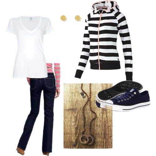 polyvore set with dark denim jeans, white v-neck tee, navy and white striped zip up hoodie, black converse, gold small round earrings, ball chain necklace with two circles