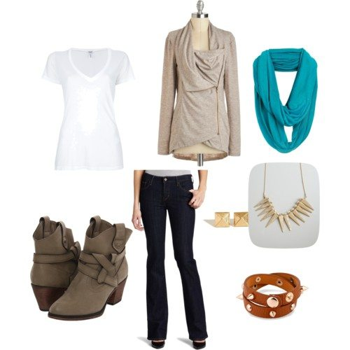 Polyvore set with a white v-neck tee, dark blue jeans, beige cardigan, brown booties, teal scarf, gold spike necklace and gold stud earrings