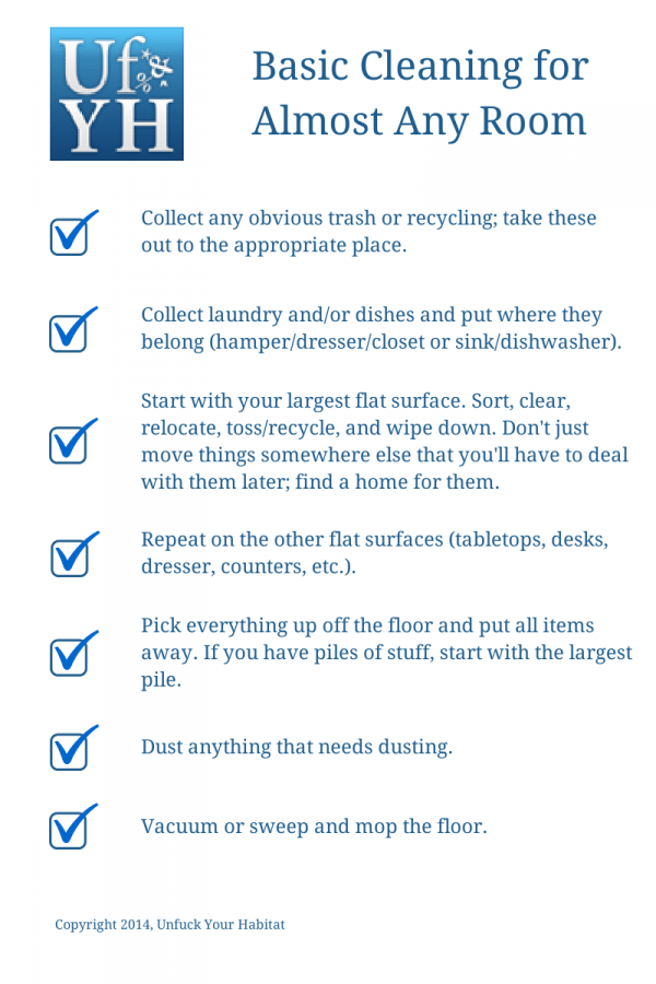 Checklist for basic room cleaning from UfYH