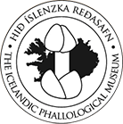 Logo for The Icelandic Phallological Museum, featuring a large penis superimposed over Iceland