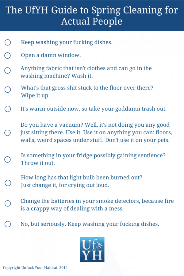 Checklist of spring cleaning tasks.