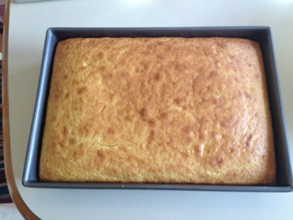 Pan of golden brown cornbread.