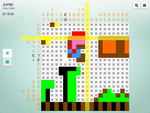 Screencap of a mostly-completed 20x20 falcross puzzle depicting Mario.