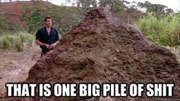"Screencap from Jurassic Park of Jeff Goldblum standing next to an enormous pile of dinosaur poop, captioned ""That is one big pile of shit."""