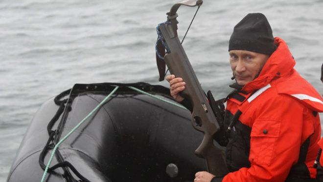 Putin with a crossbow on a boat