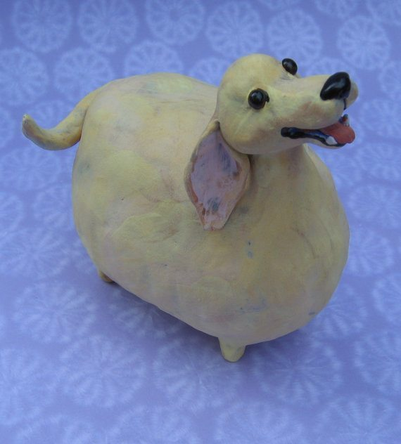 I know chubby dogs can look adorable, but best to leave them in the realm of art.  (Photo credit: Karen Fincannon's Etsy Shop)