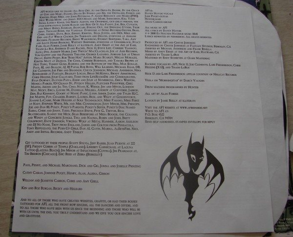 AFI - Art of Drowning liner notes