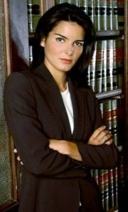Publicity photo of actress Angie Harmon as Abbie Carmichael on TV show Law & Order