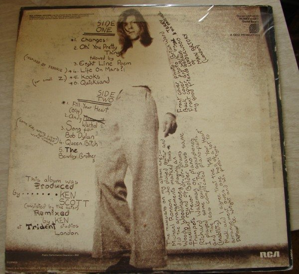 David Bowie - Hunky Dory (back cover)
