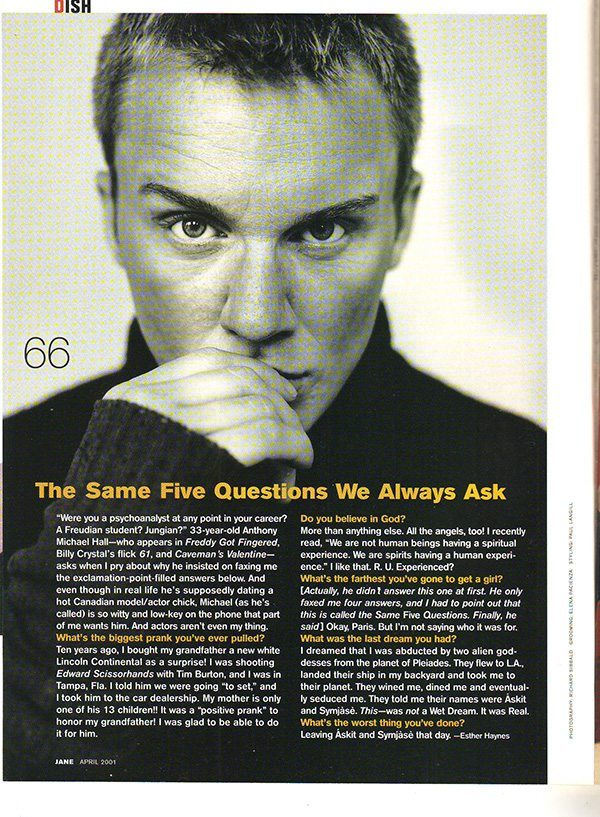 Jane Magazine April 2001 Anthony Michael Hall interview