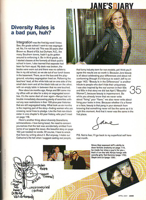Jane Magazine April 2001 Editor Letter from Jane Pratt
