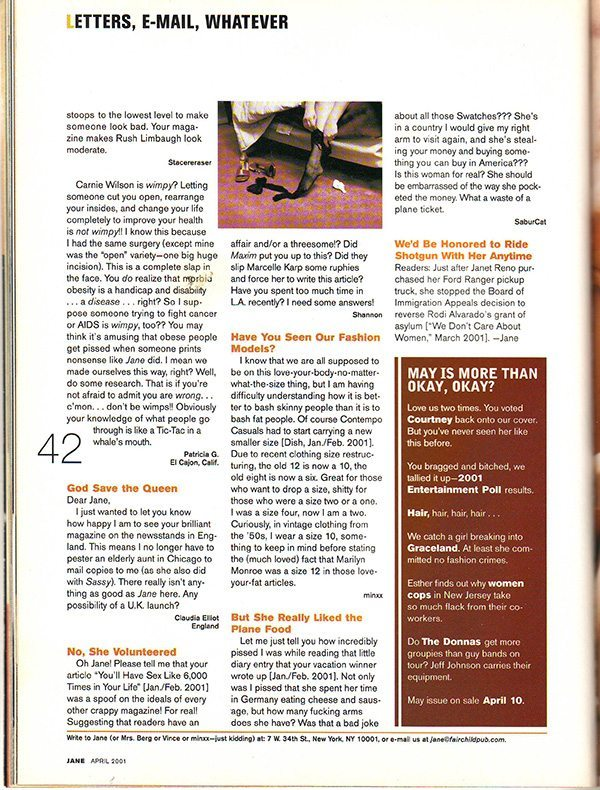 Jane Magazine April 2001 Letters to the Editor