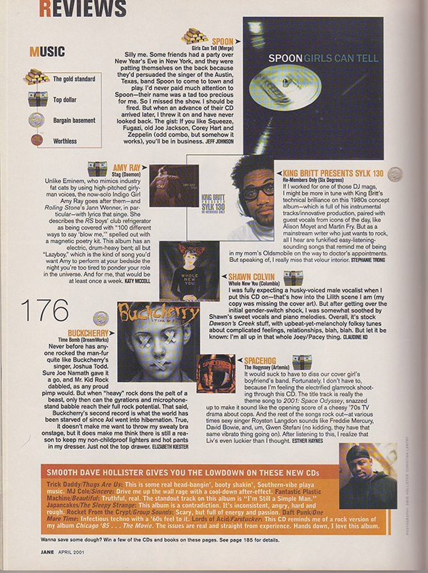 Jane Magazine April 2001 music reviews