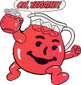 "Picture from Kool-Aid commercial of the Kool-Aid Man carrying a pitcher of Kool-Aid and saying, ""Oh, yeahhhh"""