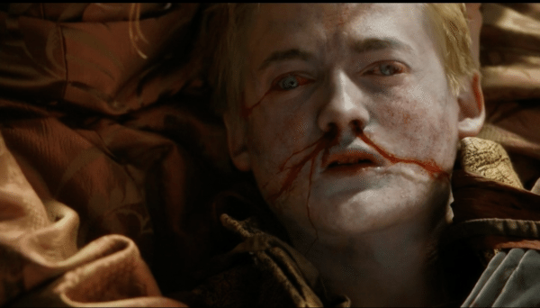 An image of Joffrey (played by Jack Gleeson) as he dies on Game of Thrones.