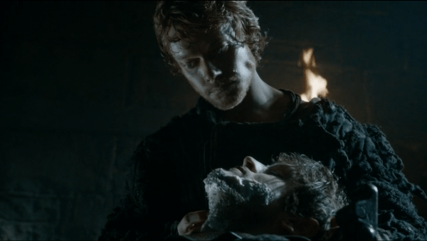 An image of Theon (played by Alfie Allen) shaving Ramsay Snow (played by Iwan Rheon).