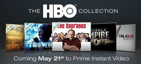 Title cards for HBO series available on Amazon.