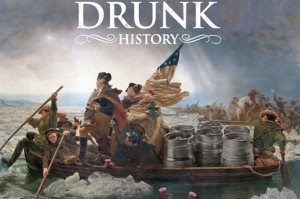 Washington crosses the Potomac with a couple of kegs.