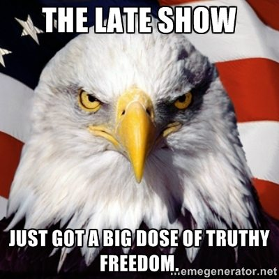 The Late Show just got a big dose of Truthy Freedom. *CAW!*
