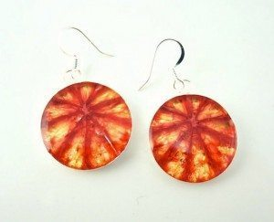 From RealFruitJewelry, Blood Orange earrings
