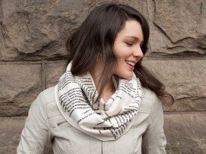 "From Storiarts, ""Pride and Prejudice"" infinity scarf"