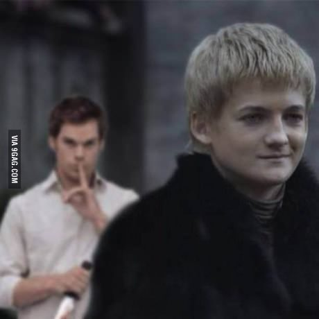 A picture of Dexter Morgan standing behind King Joffrey.