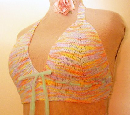 A picture of a knit bra top on a mannequin.