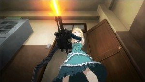 Tina with a railgun