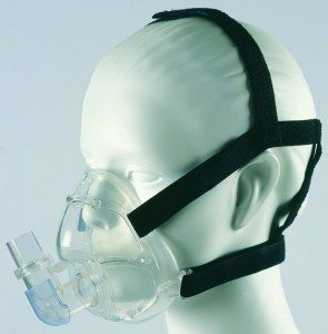 A full face CPAP mask, with mask over nose and mouth and straps around the head and neck.