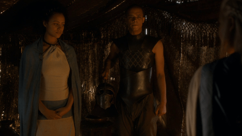 Missandei and Grey Worm look awkwardly at Dany