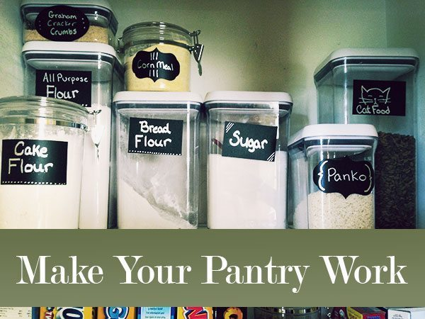 """Canisters with labels, overlaid test reads """"Make Your Pantry Work"""""""