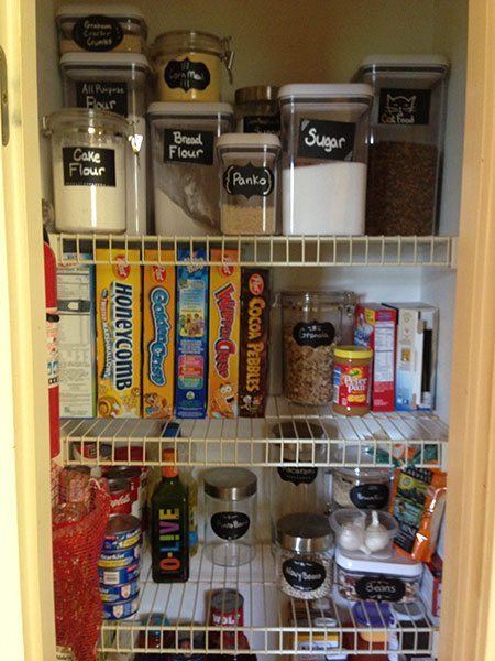 A close up of an organized pantry