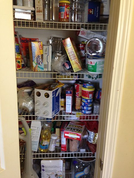 An extremely disorganized pantry.
