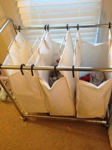 laundry in a 3 bag sorter