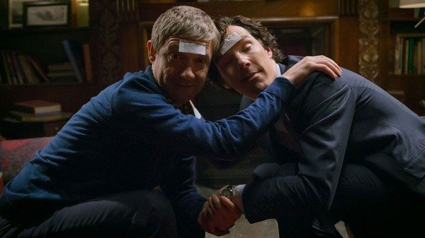 Martin Freeman and Benedict Cumberbatch, being silly drunk