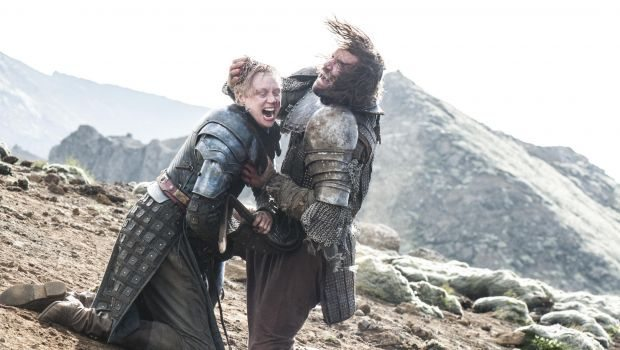 Brienne and the Hound scream as they fight on their knees