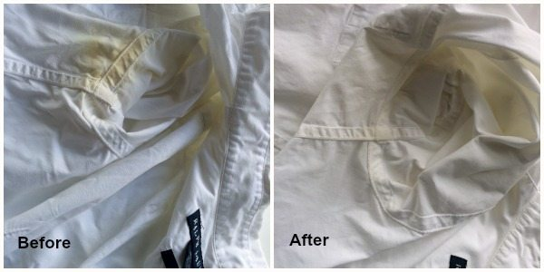 A pic of shirts before and after