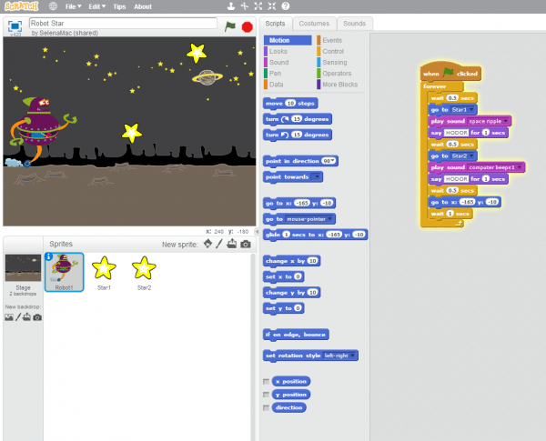 This image shows the development environment for Scratch.
