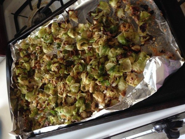 a picture of roasted Brussels sprouts in a pan.