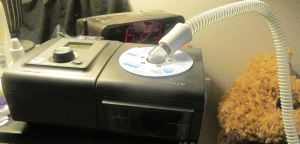 A grey CPAP machine