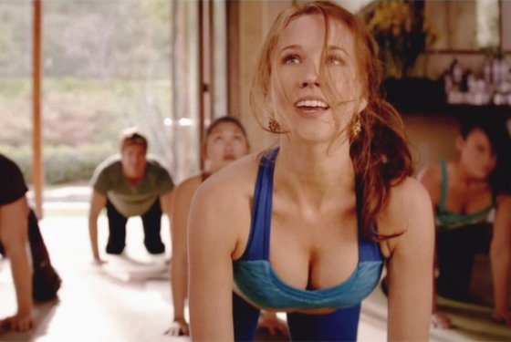 Sara Newlin does yoga.