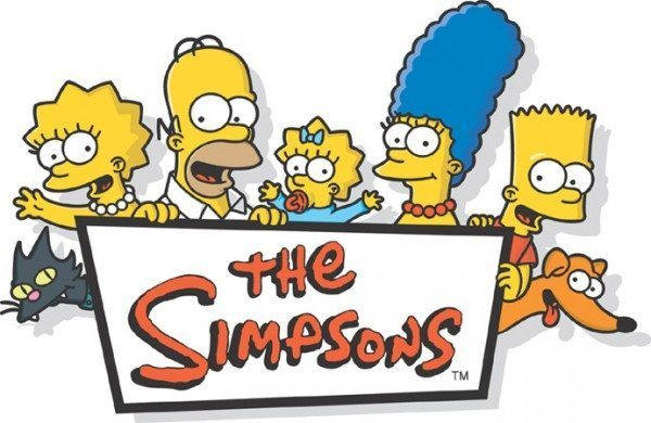 Logo for the Simpsons featuring Bart, Homer, Maggie, Marge, and Lisa