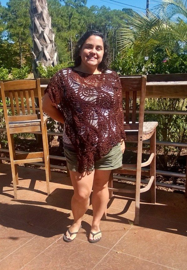 A brown pineapple pattern poncho