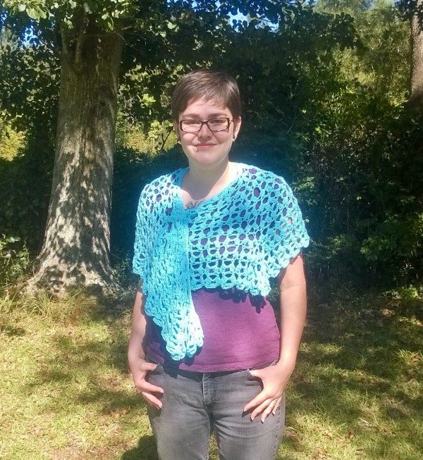 The front of the crochet wrap.
