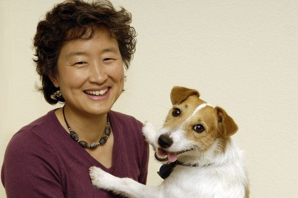 Dr. Yin posed with her dog