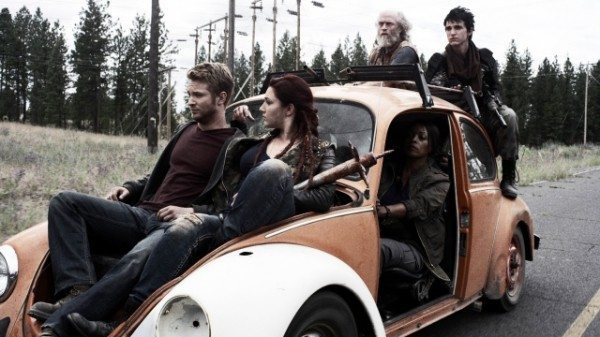 A screenshot of a VW bug filled with zombie apocalypse survivors.